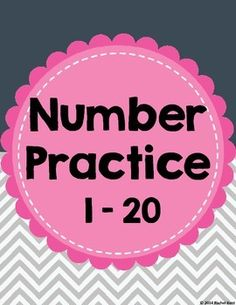 Number Practice 1-20 - a fun way for students to review their numbers! This pack includes two different practice pages for each number 1-20, plus fun coloring pages.