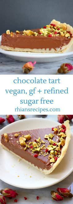 This Gluten-Free Vegan Chocolate Tart is crispy, buttery, indulgent and luxuriously creamy, and super easy to make! Refined sugar free.