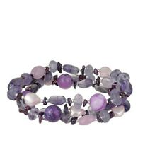 """Sterling Silver Berry Colored Genuine Multi-Stone, Crystal and Pearl 3-Row Bracelet, 7.5"""" Amazon Curated Collection. Save 70 Off!. $40.00. Made in Thailand"""
