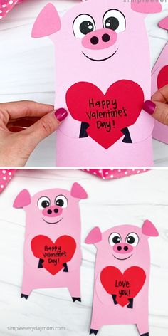 If your kids love doing paper crafts, they'll want to make this pig valentine craft. Download the free printable template and make it at home or at school for Valentine's Day. It's great for preschoolers, kindergarten, and elementary children. Kids Crafts, Preschool Projects, Valentine Crafts For Kids, Happy Valentines Day, Diy And Crafts, Paper Crafts, Valentine Template, Romantic Ideas, Elementary Art