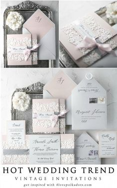 Vintage lace wedding invitations in pastel pink and grey color scheme. Timeless and romantic lace is perfect not only for wedding gowns, it will also work perfectly as an addition of wedding stationery and decorations. The touch of lace Affordable Wedding Invitations, Handmade Wedding Invitations, Vintage Wedding Invitations, Elegant Wedding Invitations, Wedding Invitation Cards, Wedding Stationery, Wedding Cards, Wedding Gowns, Wedding Venues