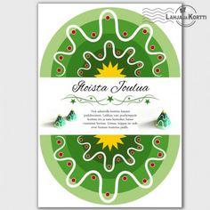 Joulukortti - askartelu - koriste - joulukuusi - Tästä kortista voi halutessaan askarrella joulukoristeen!