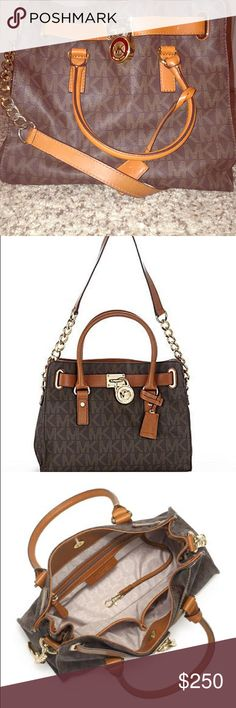 """Michael Kors Bag AUTHENTIC!! Large """"Hamilton"""" style logo tote/bag. Square shaped. Has longer strap to wear on your shoulder AND regular handles to wear on the arm. Large pockets in side, included key attachment strap. Lightly used. Michael Kors Bags Totes"""