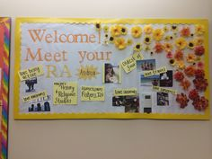 About me bulletin board RA Use dollar store fake flowers with push pins glued to the back, cheap and easy!