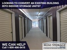 Indoor storage facilities are becoming more popular because they can offer climate controlled units.  Whether you are converting an existing building into storage units, or building a new building from scratch, we can help. #storage #self-storage #mini_storage