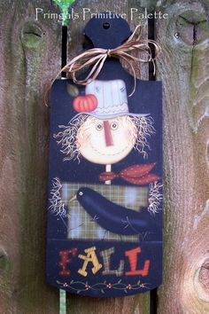 Primitive Fall Scarecrow Door/Wall Art Plaque by Primgal on Etsy
