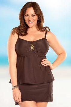 2159c0fd111 Always For Me Status Link Plus Size Underwire Tankini Top Dark Chocolate Discount  Swimwear