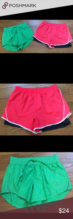 2 Hind Running Shorts🏃🏽‍♀️ 2 Pair of Hind Running Shorts.  Features elastic waist with drawstring,  built in briefs, the orange pair has a longer short style short built in.  One pair is green with tone on tone diamond design and the other pair is bright orange black shorts that are underneath. Pre-loved - worn maybe one or two times - look excellent - XS hind Shorts