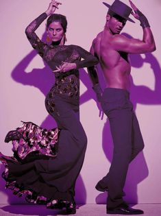 Photo by Steven Meisel for Vogue Italia, inspired by flamenco. Models: Isabeli Fontana and flamenco dancer Timo Nunez. °