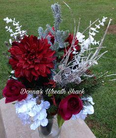 Spring silk flower table or graveside medium large arrangement with winter or christmas graveside arrangement in a medium container but this is a largefull winter flowerssilk mightylinksfo