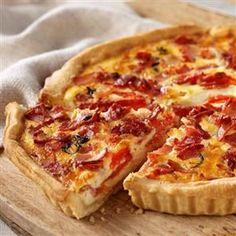 Bacon, cheese, and tomato quiche
