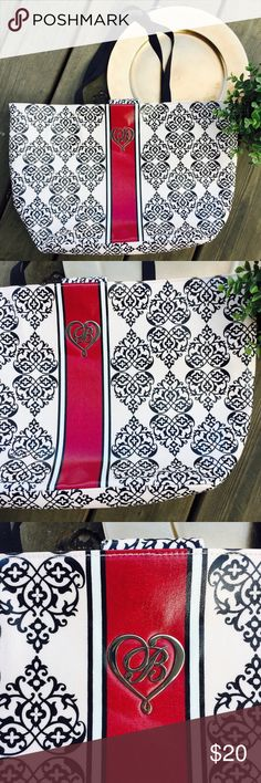"""BRIGHTON My Sweet Valentine Large Tote Bag BRIGHTON My Sweet Valentine Large Tote Bag Overnight Shopper Silver B  Red Black & White pattern Two shoulder straps, one inside zip pocket. Magnetic snap closure Length 19"""" Width 2"""" Height 11.5"""" Strap drop 9"""" Preowned EUC Brighton Bags Totes"""