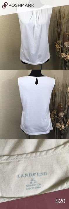 Lands End Sleeveless White Cotton Top Nothing beats 100% cotton for summer. Sleeveless top has pleated detail at scoop neckline and keyhole closure at back of neck. Gently pre-loved condition. Lands' End Tops