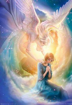 Angel ministering hope, prophetic art.