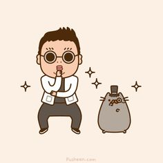 Pusheen - Gangnam Style! Oh no, let that precious thing go, you cat thief !