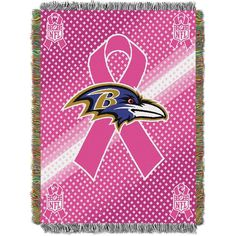 Baltimore Ravens NFL Woven Tapestry Throw (Breast Cancer Awareness) (48x60)