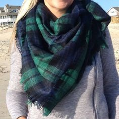 Navy & Green Plaid Blanket Scarf - the must have fall accessory! Shop now at Waves of Style
