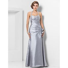Sheath/Column Halter Floor-length Taffeta Evening Dress – USD $ 179.99