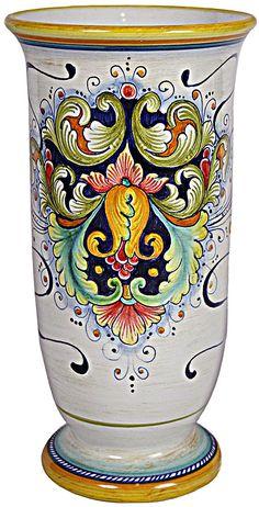 Ceramic Vase with Flare - Flower - 12 inches high x 6 inches diameter high x diameter) Ceramic Spoons, Ceramic Vase, Ceramic Pottery, Pottery Art, Slab Pottery, Porcelain Vase, Vases, Talavera Pottery, Italian Pottery