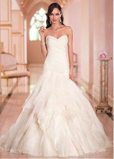 Gorgeous Organza Satin Sweethart Neckline Natural Waistline Mermaid Wedding Dress