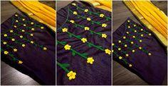 Zardosi Flower with Pearls Design on Churidar / Kurti Hand Embroidery Dress, Flower Embroidery Designs, Embroidered Clothes, Floral Embroidery, Embroidery Patterns, Pearl Embroidery, Creative Embroidery, Embroidery Stitches, Chudidhar Neck Designs