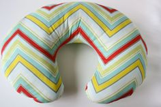 Nursing pillow cover, multicolor chevron--ready to ship. $35.00, via Etsy.