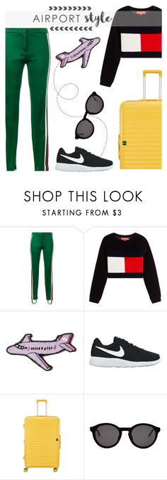"""Airport Style"" by keepfashion92 ❤ liked on Polyvore featuring Gucci, Hilfiger Collection, Stoney Clover Lane, NIKE, Lojel and Thierry Lasry"