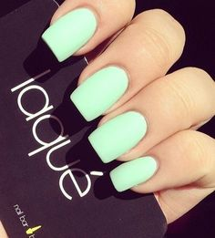 60 Simple Matte Nail art Designs for Beginners . Not a big fan of Matte Nails until very recently. They are pretty, if you have the right color, & the right nail shape! Green Nails, Blue Nails, Mint Nails, White Nails, Gorgeous Nails, Pretty Nails, Matte Nail Art, Acrylic Nails, Nagel Gel