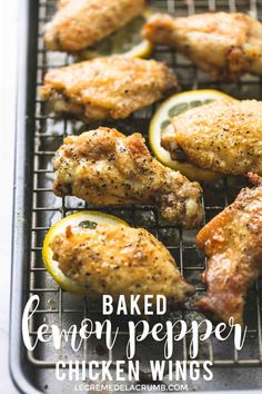 Easy and healthy Baked Lemon Pepper Chicken wings roasted til crispy and brushed with honey lemon pepper butter sauce for the perfect appetizer! Baked Lemon Pepper Wings, Lemon Pepper Chicken Wings Recipe Baked, Easy Appetizer Recipes, Appetizer Party, Appetizers, Dinner Recipes, Weeknight Recipes, Snacks Recipes, Dessert Recipes