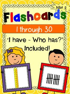 """Great Value! Packet includes base ten blocks, numerals, and tally marks from 1 - 30. It also features """"I have - Who has?"""" FOR EACH type of number representation. Fun for centers and small groups!"""
