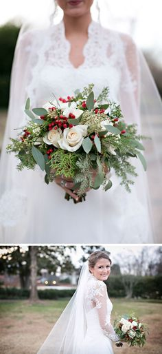 A gorgeous red and green winter bouquet for a holiday wedding.