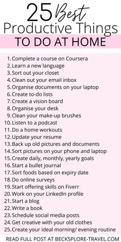 Things To Do When Bored, Things To Do Alone, Getting Things Done, Productivity Challenge, Productivity Quotes, Productive Things To Do, Things To Do At Home, Self Care Activities, Time Management Tips