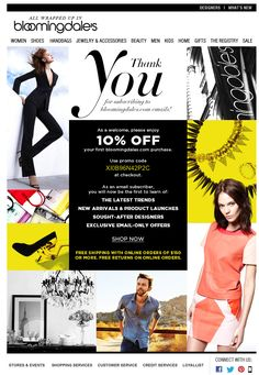 Bloomingdale's Welcome Email Design