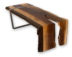 Walnut waterfall coffee table with steel leg. Log Table, Pipe Table, Made Coffee Table, Coffee And End Tables, Live Edge Wood, Live Edge Table, Live Edge Furniture, Furniture Decor, Furniture Design