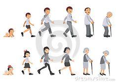Illustration human life cycle. Man and woman born baby, grow become kids…