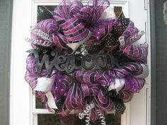Halloween Deco Mesh Wreath / Welcome Wreath by BabesnBowsBoutique