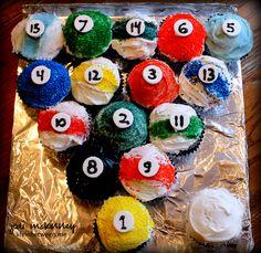 pool balls cake - cupcakes