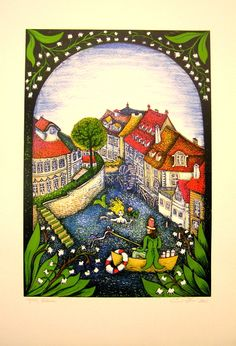 Srncová Emma, Čertovka, grafika, 50x35 Prague, Illustration, Pictures, Painting, Art, Little Cottages, Photograph Album, Photos, Art Background