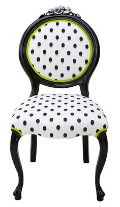 Chair Dining/Side Chair ~ White & black polka dot chair, with a hint of lime. Description from pinterest.com. I searched for this on bing.com/images