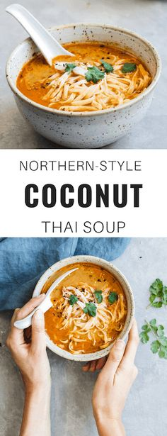 Vegan Thai Coconut Soup This Northern-Style Coconut Thai Soup can be made vegan and gluten-free. Talk about healthy and easy!This Northern-Style Coconut Thai Soup can be made vegan and gluten-free. Talk about healthy and easy! Food For Thought, Think Food, Whole Food Recipes, Cooking Recipes, Healthy Recipes, Free Recipes, Thai Vegetarian Recipes, Thai Food Vegetarian, Healthy Thai Food