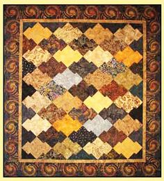 "Quit Pattern & Template - Brookshire Design Studio - Japanese Jigsaw - Uses 5"" or 10"" squares Finished Size:  64"" x 70"" (shown on cover) or 54"" scrappy quilt."