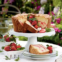 Strawberry Swirl Cream Cheese Pound Cake. This will probably shorten lifespans, but it sounds delicious.