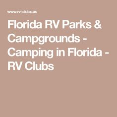 Florida RV Parks Campgrounds