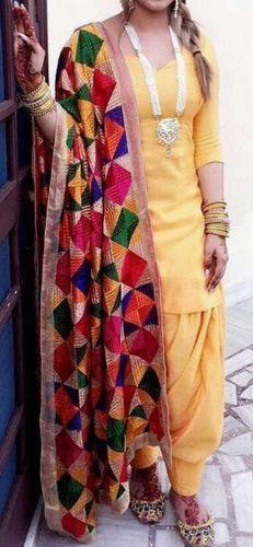 Golden Punjabi Patiala salwar suit with 8 color Phulkari Dupatta - Dress material suit Phulkari Suit, Patiala Salwar Suits, Patiala Suit Designs, Kurti Designs Party Wear, Dress Indian Style, Indian Fashion Dresses, Panjabi Suit, Patiyala Dress, Indian Designer Suits