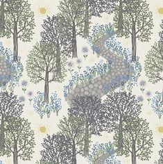 Half metre Lewis & Irene Patchwork Quilting Fabric Morning in Bluebell Wood Dark Blue Flowers, Purple Trees, Green Trees, Woodland Fabric, Spring Projects, Cotton Quilts, Cotton Fabric, Floral Fabric, Green And Purple