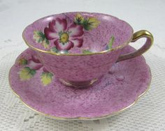 Purple Japanese Tea Cup and Saucer