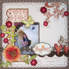 Happiness - Scrapbook.com paper by Jillybean Soup and cute chipboard pieces by Fancy Pants