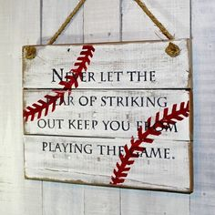 Sports Pallet Sign Never let the fear of striking out keep you from playing the game Hand Painted Reclaimed Pallet Wood Sign - Wood pallet signs, Pallet signs, Wood signs, Wood pallets, Pallet project - Pallet Crafts, Wooden Crafts, Pallet Projects, Craft Projects, Diy Crafts, Craft Ideas, Pallet Ideas, Vinyl Projects, Outdoor Projects
