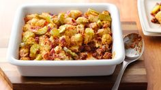Try this tasty cheeseburger casserole topped with Cascadian Farm™ Spud Puppies™ potatoes and bacon!