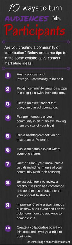 10 ideas for turning your audience into participants